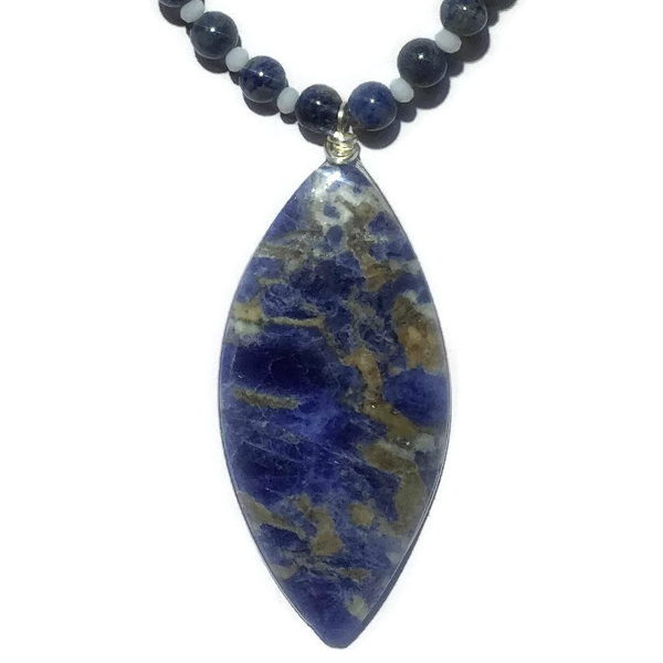 shipping sodalite item chip nylon line weave in beads necklace free